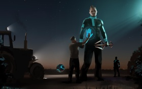 Обои инопланетяне, встреча, поле, нло, дед, трактор, Россия