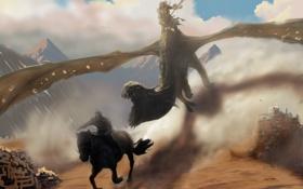 Обои фантастика, дракон, крылья, пасть, всадник