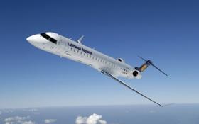 Обои Самолет, Крылья, Авиация, Lufthansa, Bombardier, В Воздухе, Авиалайнер