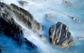 Картинка море, волны, брызги, камни, скалы