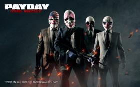 Обои The Heist, Payday, люди, маски, доллары, грабители, оружие