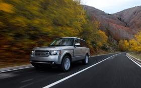 Обои дорога, осень, Range Rover