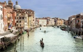 Картинка окна, дома, лодки, Италия, Венеция, балконы