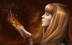 Обои огонь, Девушка, магия, ладони