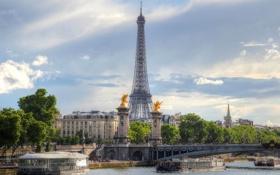 Обои мост, река, Франция, Париж, корабль, башня, Сена