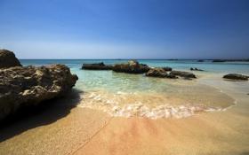 Обои камни, небо, лето, синее, море, песок, пляж