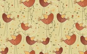 Обои птичка, арт, фон, текстура, вектор, птицы
