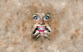 Обои гримаса, глаза, веснушки, зубы, брекеты