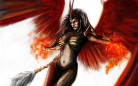 Картинка девушка, огонь, магия, крылья, арт, феникс