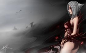 Обои девушка, улыбка, демон, art, league of legends, Riven, Zack Argunov