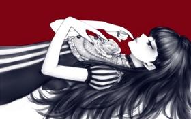 Обои роза, Девушка, лежит, красный фон