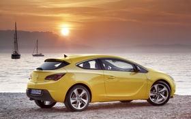 Обои солнце, закат, озеро, яхта, Opel, Astra, GTC