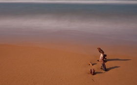 Обои песок, море, вода, макро, природа, океан, берег