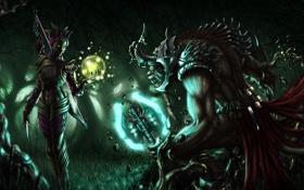 Обои лес, ночь, магия, монстр, лук, арт, нож