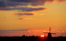 Картинка небо, солнце, облака, закат, ветряная мельница