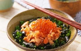 Обои рыба, палочки, лук, чашка, cup, fish, морепродукты