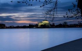 Картинка США, USA, evening, закат, небо, синее, деревья