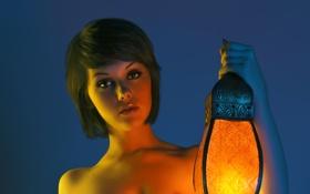 Картинка глаза, свет, прическа, фонарь, mellisa clarke, брюнетка. модель