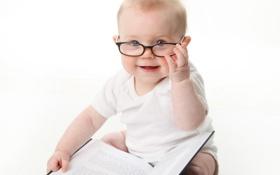 Картинка дети, фото, настроение, очки, книга, младенец