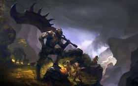Картинка оружие, скалы, меч, воин, существа, разговор, доспех