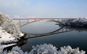 Картинка зима, деревья, мост, река