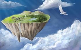 Картинка горы, озеро, птица, остров, водопад, дома, арт