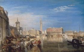 Картинка море, город, дома, картина, лодки, канал, Venice
