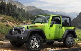 Обои природа, внедорожник, зелёный, передок, mountain, jeep, wrangler