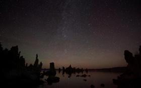 Картинка звезды, озеро, California, Mono Lake