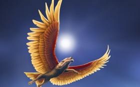 Обои небо, полет, волк, крылья, арт