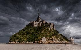 Обои небо, тучи, Франция, остров, отлив, Мон-Сен-Мишель, аббатство