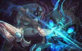 Обои маска, лук, стрелы, охотник, lol, League of Legends, Kindred