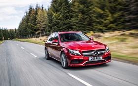 Картинка Mercedes, мерседес, AMG, амг, C 63, UK-spec, Estate