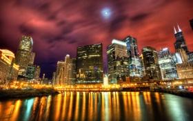 Картинка свет, ночь, город, огни, отражение, река, побережье