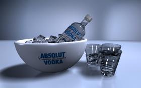 Обои бутылка, лёд, алкоголь, стаканы, абсолют, водка, 1920x1080