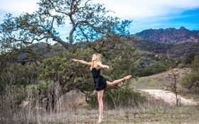 Обои природа, девушка, танец