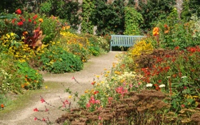 Обои трава, солнце, цветы, скамейка, сад, лавочка, дорожка