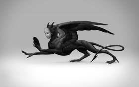 Обои крылья, маска, дьявол, Maria Zolotukhina