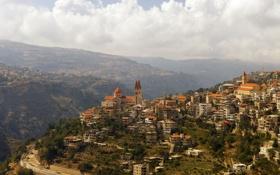 Обои горы, город, панорама