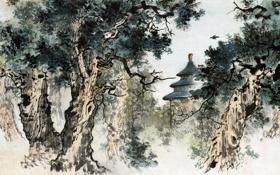 Обои пейзаж, графика, гравюра востока