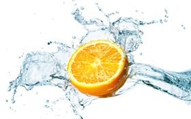 Обои Вода, Брызги, Апельсин, Белый Фон