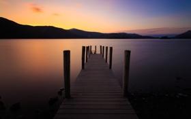 Картинка закат, горы, озеро, пристань