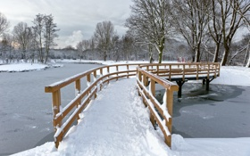 Картинка зима, мост, парк