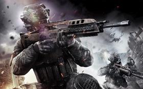 Обои город, война, вертолет, солдаты, Call of Duty: Black Ops 2