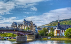 Картинка город, река, дома, фото, мост, Bernkastel, Германия