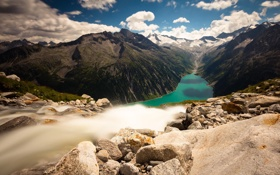 Картинка пейзаж, горы, природа, река, водопад, Альпы