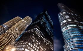 Картинка ночь, огни, здания, небоскребы, USA, чикаго, Chicago