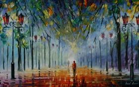 Обои леонид афремов, люди, деревья, Colours of winter, фонари, картина