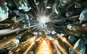 Картинка космонавт, астероиды, Космос, комета, космический корабль
