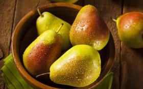 Обои капельки, миска, фрукты, груши, fruit, drops, pear